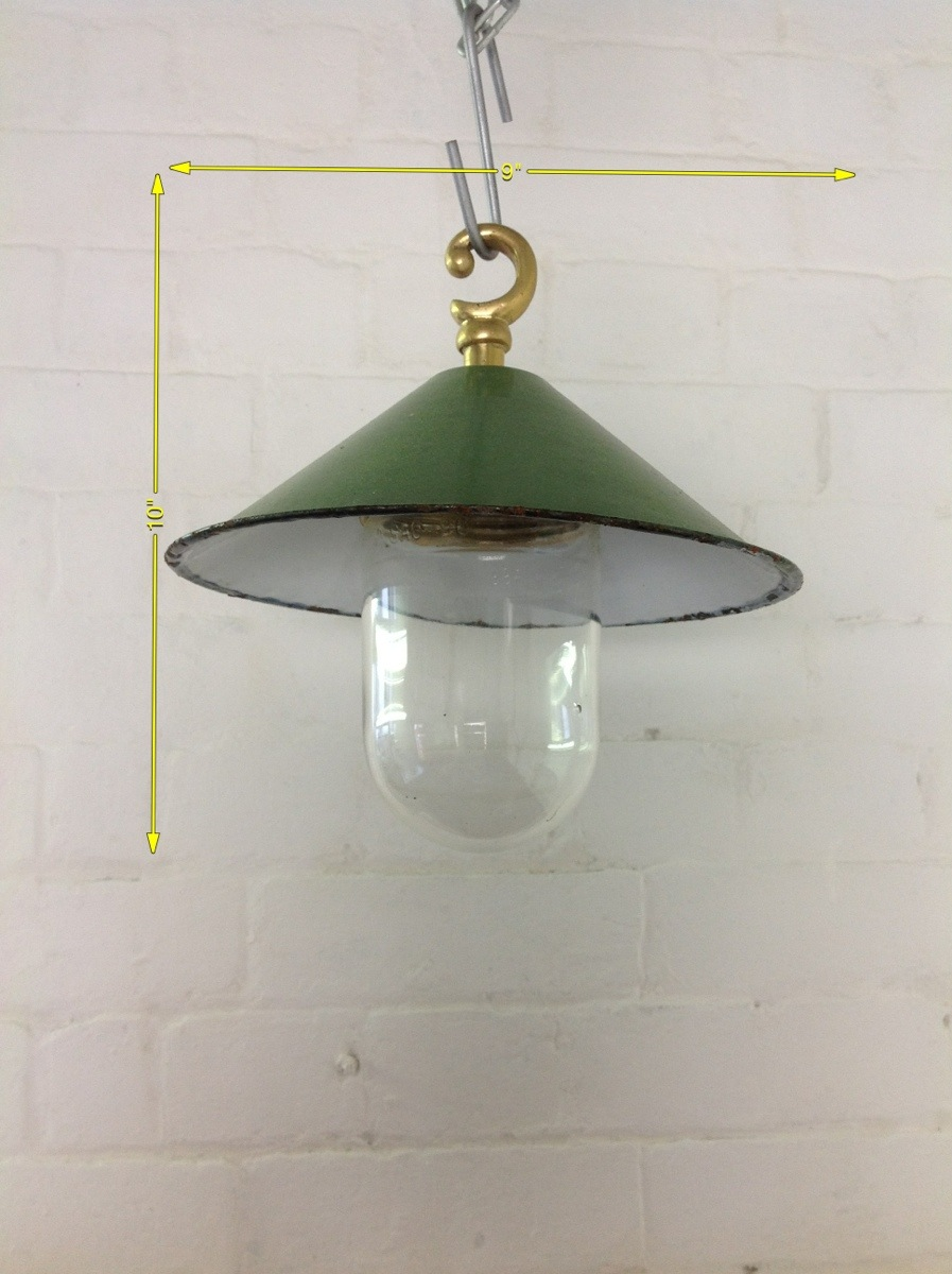 Green Enamel Wall Lights : Pendant Light Green Enamel Shade 9in acrossx10in Drop 10 Available - Industrial Lighting